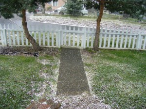 Precipitation in the form of hail falls in Tacoma in March.