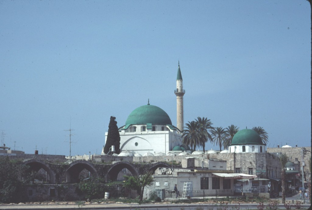 The principal mosque in Akka, Israel, with the old suq (market) in the foreground.