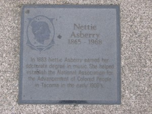 Nettie Asberry plaque in Tacoma