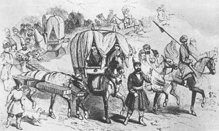 The howdah was a form of transportaton used mainly for women and children on long voyages.